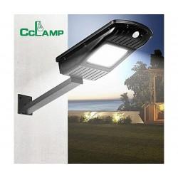 Градинска стенна LED лампа с 2 сензора CCLamp CL-110 20W, Светлинен датчик, Датчик за движение, Соларен панел, 20W