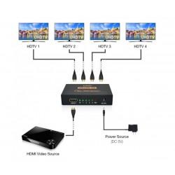 4K HDMI сплитер 1 към 4 за HDTV, DVD, PS4, Xbox