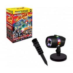 Лазерен проектор Slide Show Laser Light, Статичен и подвижен, 3D холографски ефект, Външен и вътрешен монтаж, 12 различни слайда