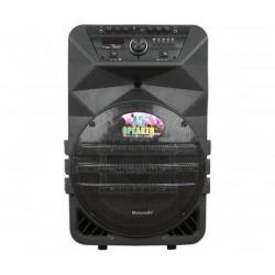 15 инчова тонколона Meirende К5-15 с вграден акумулатор, Bluetooth, МП3 плейър, безжични микрофони 2 бр. за караоке