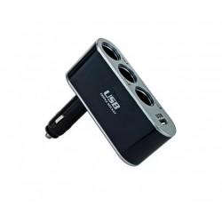 Разклонител на запалка 3 гнезда + 1 USB WF-0100