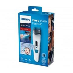 Philips Машинка за подстригване Series 3000, Ножчета от неръждаема стомана, 13 настройки за дължина, 75 мин. безжична работа/8 ч. зареждане, Вкл. гребен за деца