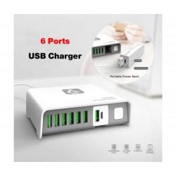 Универсално зарядно за 220V LDNIO Box Magical, 6 USB порта, Auto ID, 2600mAh вградена външна батерия