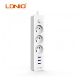 Разклонител с 3 гнезда и 3 USB порта за бързо зареждане LDNIO SE3330