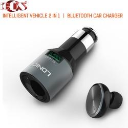 Блутут слушалка и зарядно за автомобил 2 в 1 Ldnio CM20