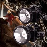 Мощен LED фенер за глава - челник с вграден акумулатор и соларен панел GD Light - GD-216S