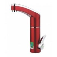 Водонагряваща смесителна батерия (нагревател за вода) с дисплей Емона 3500W Вертикален монтаж Червен цвят