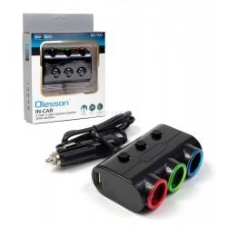 Разклонител на запалка 3 гнезда + 2 USB Olesson 1523