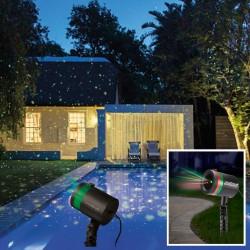 Лазерен проектор Star Shower Motion, Статичен и подвижен, 3D холографски ефект, Външен и вътрешен монтаж