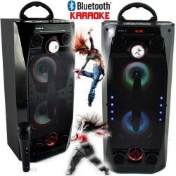 Мощна караоке колона QS-36 с Bluetooth, микрофон, цветомузика и радио