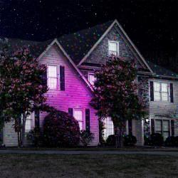 Лазерен проектор Snow Flower Lamp, Статичен и подвижен, 3D холографски ефект, Външен и вътрешен монтаж