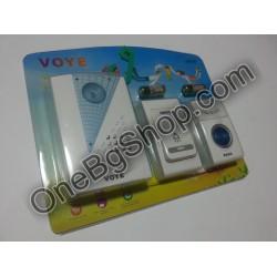 Безжичен звънец за врата на батерии Voye Един звънеца Два бутона